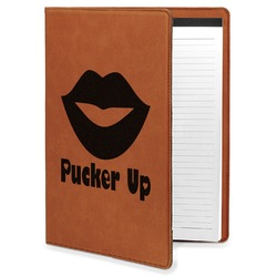 Lips (Pucker Up) Leatherette Portfolio with Notepad
