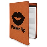 Lips (Pucker Up) Leatherette Zipper Portfolio with Notepad