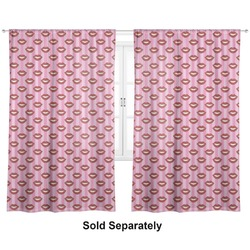 "Lips (Pucker Up) Curtains - 20""x84"" Panels - Lined (2 Panels Per Set)"