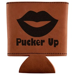 Lips (Pucker Up) Leatherette Can Sleeve