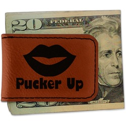 Lips (Pucker Up) Leatherette Magnetic Money Clip