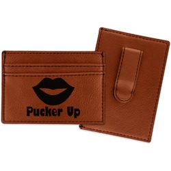 Lips (Pucker Up) Leatherette Wallet with Money Clip