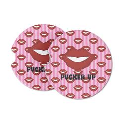 Lips (Pucker Up) Sandstone Car Coasters