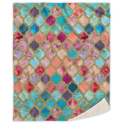 Glitter Moroccan Watercolor Sherpa Throw Blanket