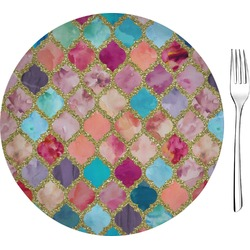 "Glitter Moroccan Watercolor Glass Appetizer / Dessert Plates 8"" - Single or Set (Personalized)"