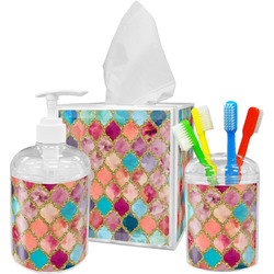 Glitter Moroccan Watercolor Acrylic Bathroom Accessories Set