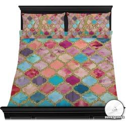 Glitter Moroccan Watercolor Duvet Cover Set (Personalized)