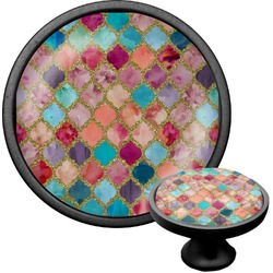 Glitter Moroccan Watercolor Cabinet Knob (Black) (Personalized)