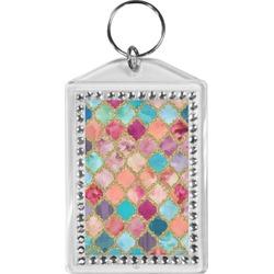 Glitter Moroccan Watercolor Bling Keychain
