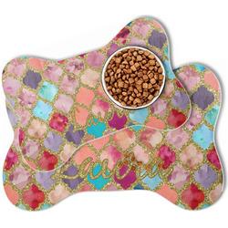 Glitter Moroccan Watercolor Bone Shaped Dog Food Mat