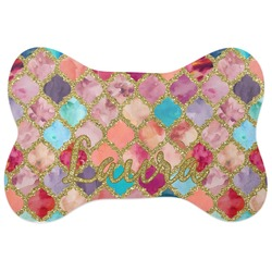 Glitter Moroccan Watercolor Bone Shaped Dog Food Mat (Personalized)
