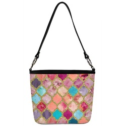 Glitter Moroccan Watercolor Bucket Bag w/ Genuine Leather Trim (Personalized)