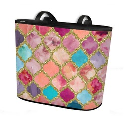 Glitter Moroccan Watercolor Bucket Tote w/ Genuine Leather Trim (Personalized)