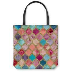 Glitter Moroccan Watercolor Canvas Tote Bag