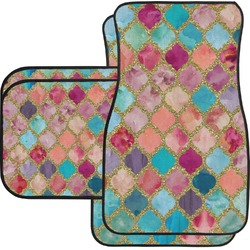 Glitter Moroccan Watercolor Car Floor Mats Set - 2 Front & 2 Back (Personalized)
