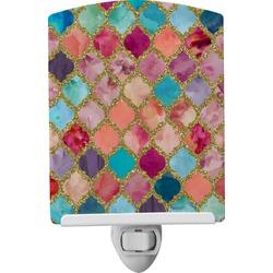Glitter Moroccan Watercolor Ceramic Night Light (Personalized)