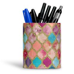 Glitter Moroccan Watercolor Ceramic Pen Holder