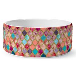 Glitter Moroccan Watercolor Ceramic Pet Bowl (Personalized)