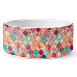 Glitter Moroccan Watercolor Ceramic Dog Bowl