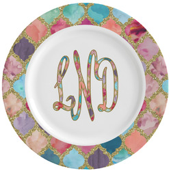 Glitter Moroccan Watercolor Ceramic Dinner Plates (Set of 4) (Personalized)