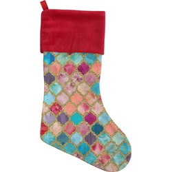 Glitter Moroccan Watercolor Christmas Stocking (Personalized)