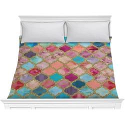 Glitter Moroccan Watercolor Comforter - King (Personalized)