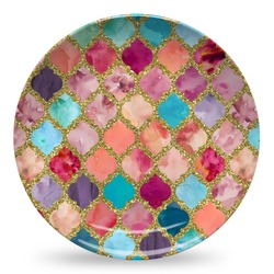 Glitter Moroccan Watercolor Microwave Safe Plastic Plate - Composite Polymer (Personalized)