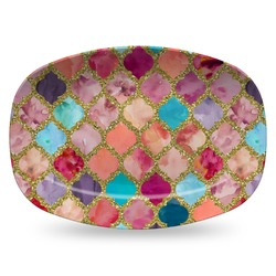 Glitter Moroccan Watercolor Plastic Platter - Microwave & Oven Safe Composite Polymer (Personalized)