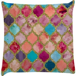 Glitter Moroccan Watercolor Decorative Pillow Case
