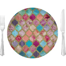 "Glitter Moroccan Watercolor 10"" Glass Lunch / Dinner Plates - Single or Set (Personalized)"