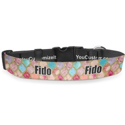"""Glitter Moroccan Watercolor Deluxe Dog Collar - Double Extra Large (20.5"""" to 35"""") (Personalized)"""