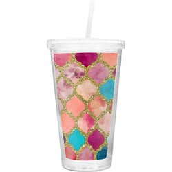 Glitter Moroccan Watercolor Double Wall Tumbler with Straw (Personalized)