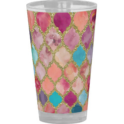 Glitter Moroccan Watercolor Drinking / Pint Glass (Personalized)