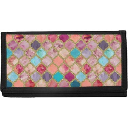Glitter Moroccan Watercolor Canvas Checkbook Cover