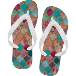 Glitter Moroccan Watercolor Flip Flops - Large (Personalized)