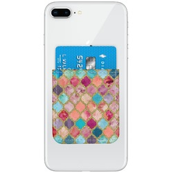 Glitter Moroccan Watercolor Genuine Leather Adhesive Phone Wallet (Personalized)