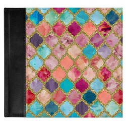 Glitter Moroccan Watercolor Genuine Leather Baby Memory Book (Personalized)