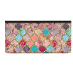 Glitter Moroccan Watercolor Genuine Leather Checkbook Cover (Personalized)
