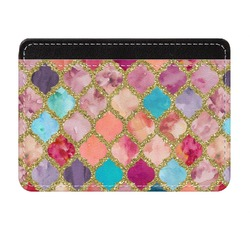 Glitter Moroccan Watercolor Genuine Leather Front Pocket Wallet (Personalized)