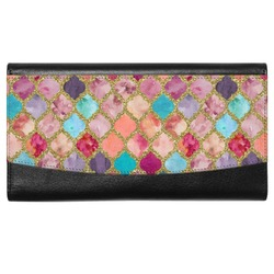 Glitter Moroccan Watercolor Genuine Leather Ladies Wallet (Personalized)