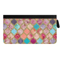 Glitter Moroccan Watercolor Genuine Leather Ladies Zippered Wallet (Personalized)