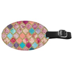 Glitter Moroccan Watercolor Genuine Leather Oval Luggage Tag (Personalized)