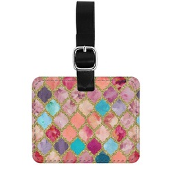 Glitter Moroccan Watercolor Genuine Leather Rectangular  Luggage Tag (Personalized)