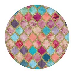 Glitter Moroccan Watercolor Round Desk Weight - Genuine Leather  (Personalized)