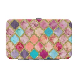 Glitter Moroccan Watercolor Genuine Leather Small Framed Wallet
