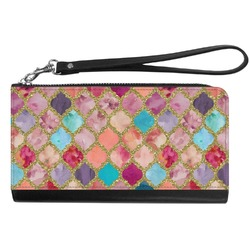 Glitter Moroccan Watercolor Genuine Leather Smartphone Wrist Wallet (Personalized)