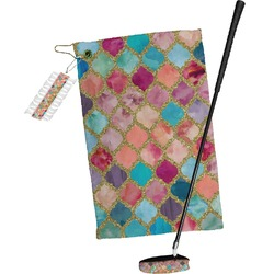 Glitter Moroccan Watercolor Golf Towel Gift Set (Personalized)