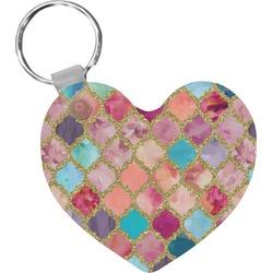 Glitter Moroccan Watercolor Heart Plastic Keychain