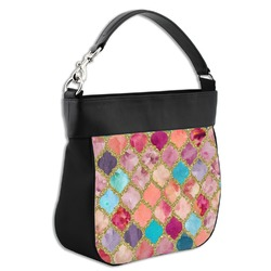 Glitter Moroccan Watercolor Hobo Purse w/ Genuine Leather Trim (Personalized)
