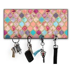 Glitter Moroccan Watercolor Key Hanger w/ 4 Hooks (Personalized)